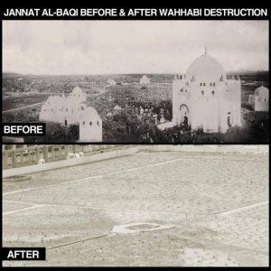 Jannatul Baqi avant et après sa destruction.